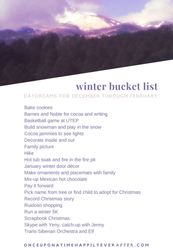 20 Activities on My Winter Bucket List:  Progress Report, 1.2.2017