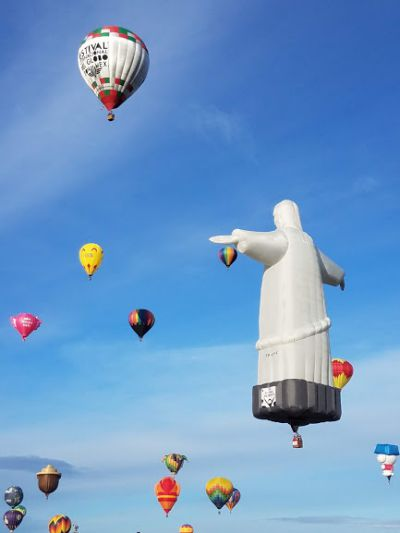 Jesus overlooking the other balloons.