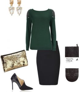Embellished sweater, pencil skirt, pattered tights.