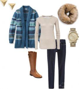 Fair Isle sweater, faux fur collar and dark wash denim.
