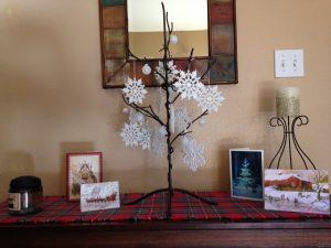 Thanksgiving thankfulness tree turned Christmas.