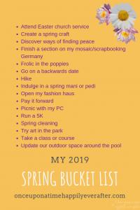 My Spring Bucket List, Update, 04.2019