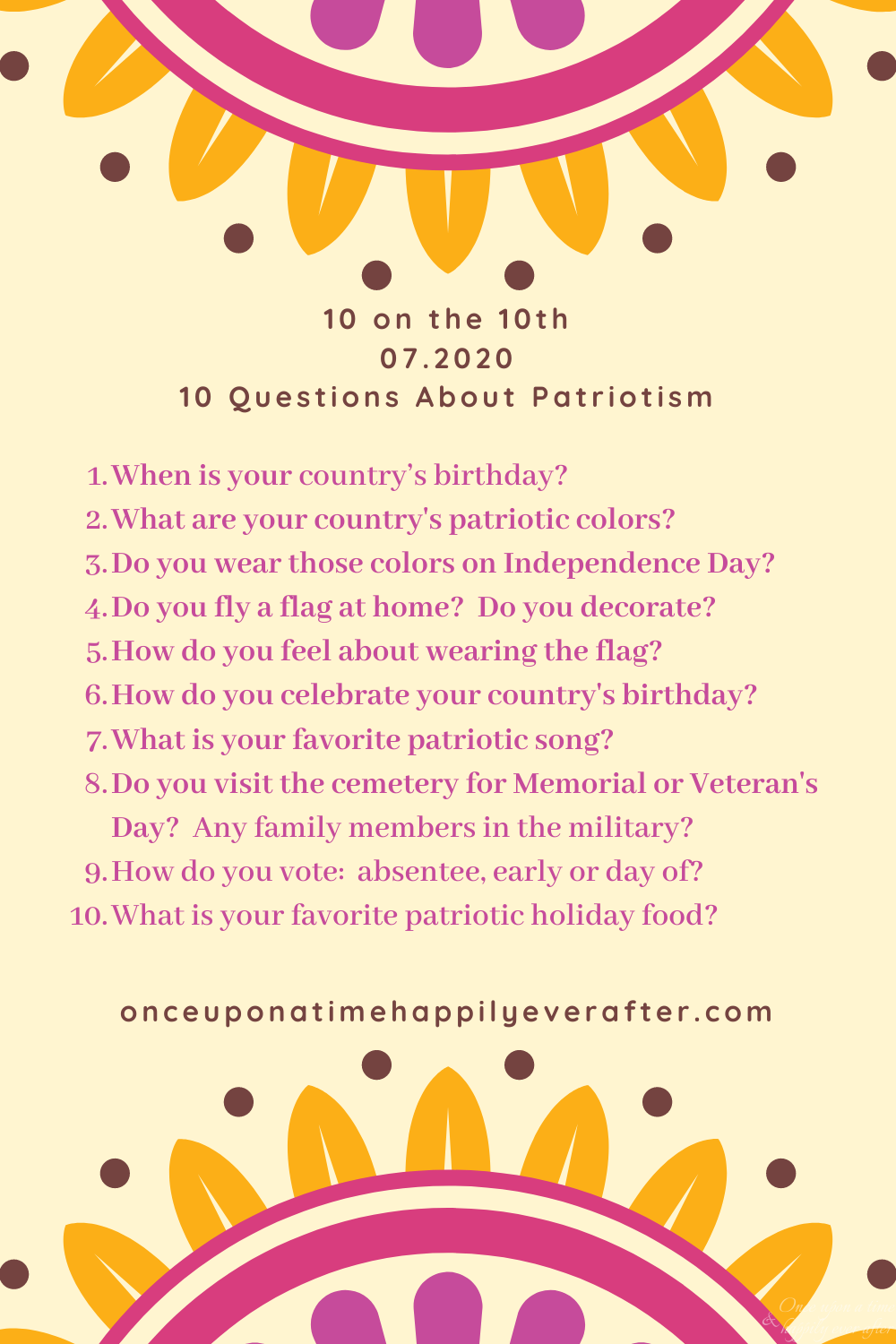 Patriotism: Prompt for July's 10 on the 10th